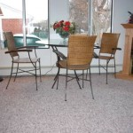 sun room with wall to wall carpeting, patio furniture and fireplace