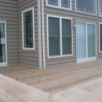 closeup of new deck installation for home