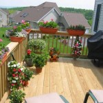 custom deck installed in backyard with potted plants