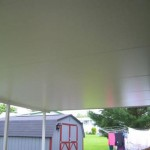 closeup of newly installed roof for mobile home porch