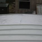 closeup of mobile home roof after re-roofing process
