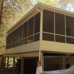 large second floor screen room installed for a house