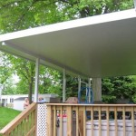 new porch with roof installed for mobile home