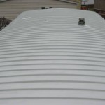 closeup of mobile home roof after re-roofing