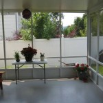amazing view of the backyard from inside screen room