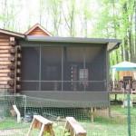 custom black three season room built attached to log house